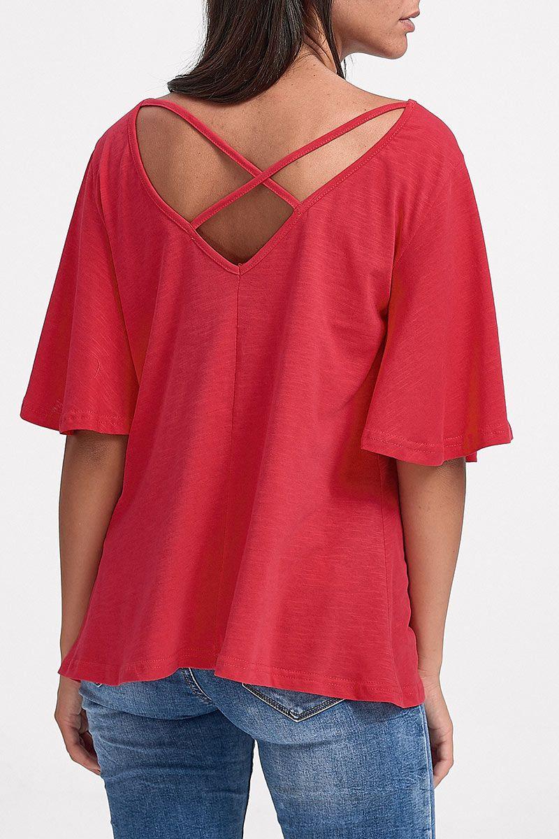 06f2e198354e Μονόχρωμη Μπλούζα με χιαστή στην πλάτη και καμπάνα μανίκι - Basic ...