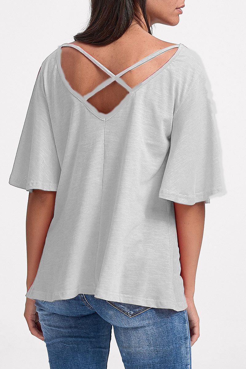 1fb75c4e3c47 Μονόχρωμη Μπλούζα με χιαστή στην πλάτη και καμπάνα μανίκι-Άσπρο-S M ...