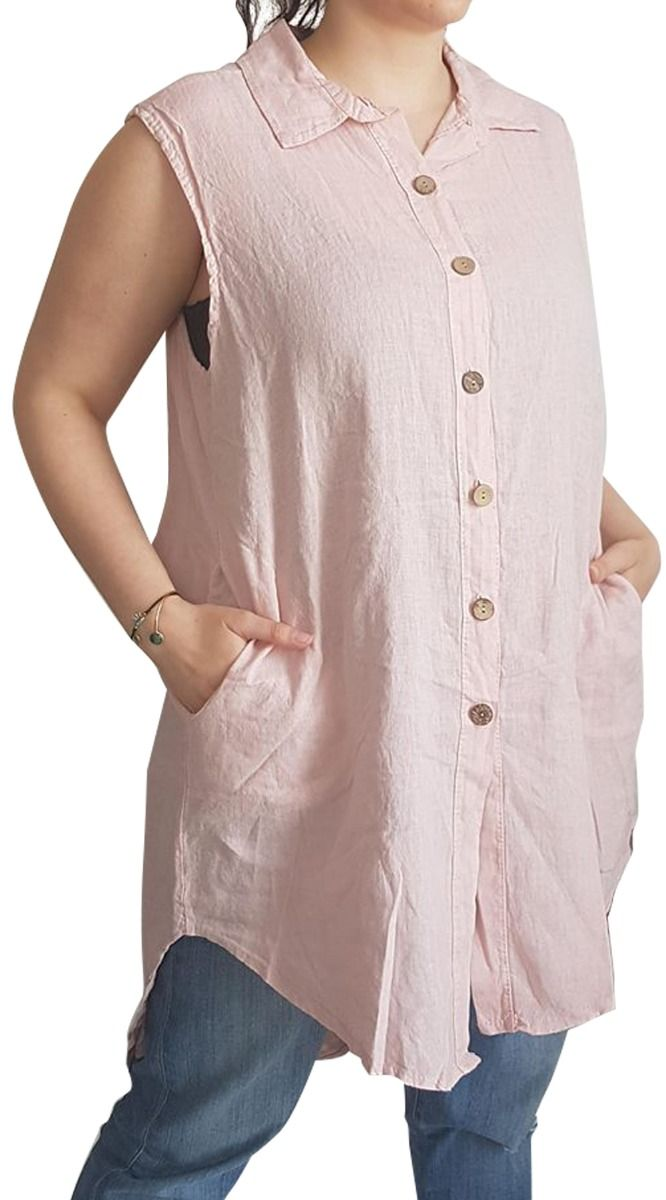 680d06b21cc5 Αμάνικο μακρύ λινό πουκάμισο - Όλα - ΕΝΔΥΜΑΤΑ