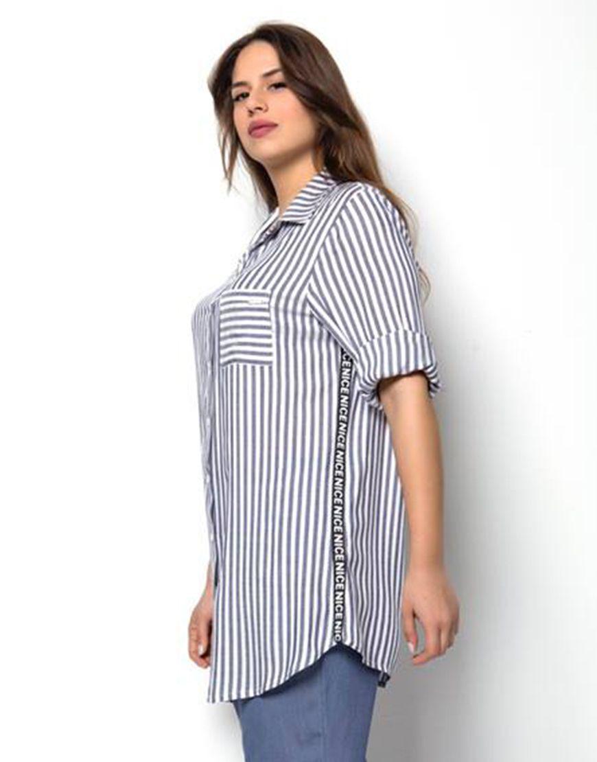 8acb369e9ba9 Ριγέ μακρύ πουκάμισο με λεπτομέρεια στο πλάι - Όλα - ΕΝΔΥΜΑΤΑ ...