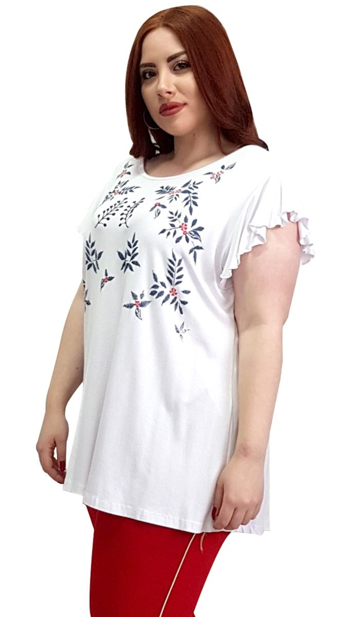 24910e8033cb Μπλούζα Άσπρη με σχέδιο και Βολάν Μανίκια - Basic Tops - Μπλούζες ...