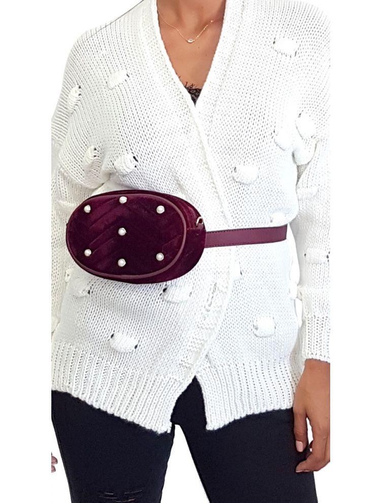 Βελουτέ Belt Bag με Πέρλες-Μπορντό