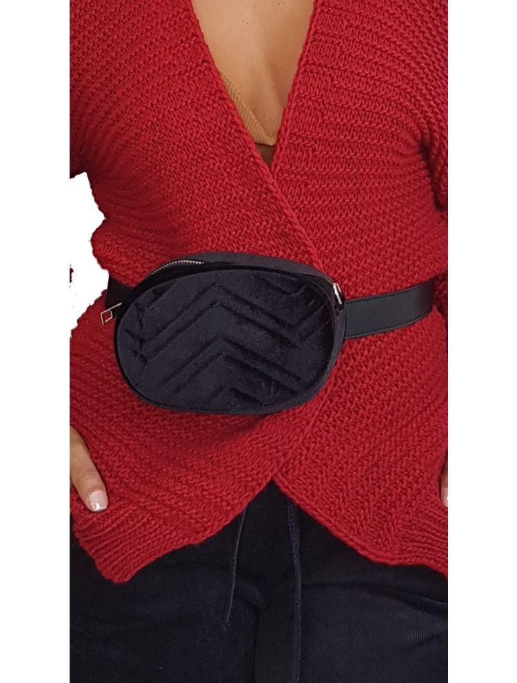 Βελούδινο Belt Bag-Μαύρο
