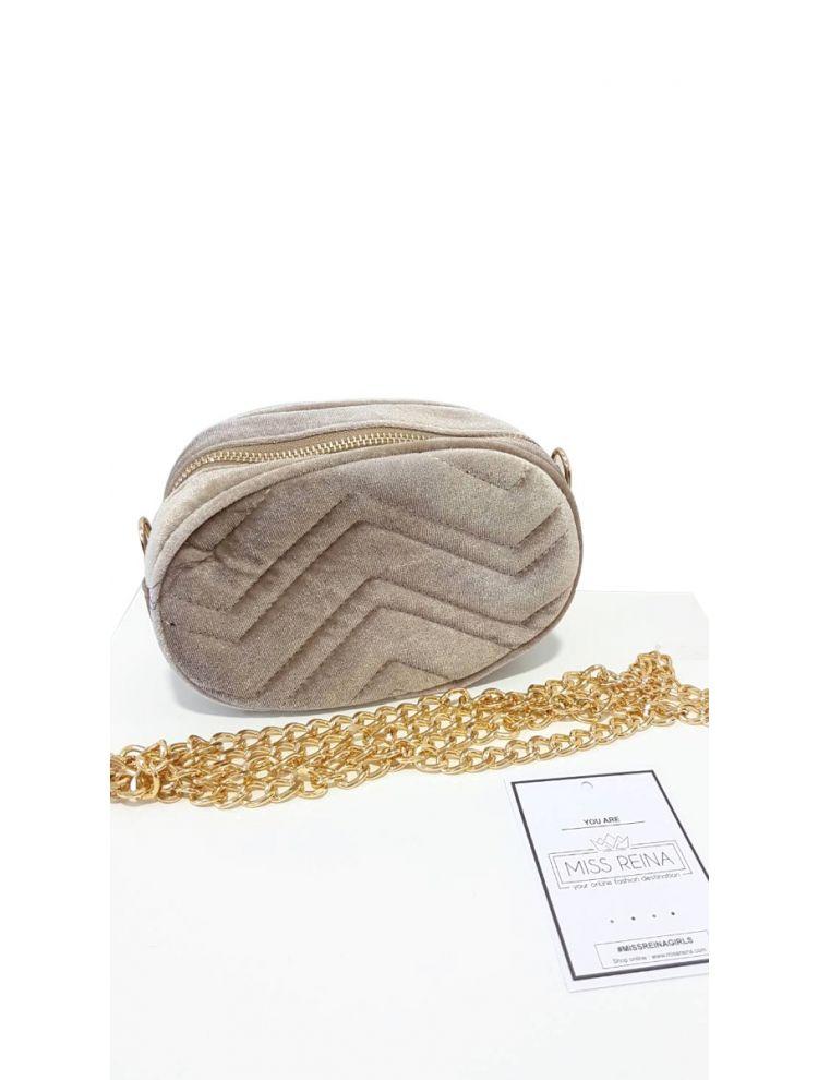 Βελούδινο Belt Bag-Μπεζ