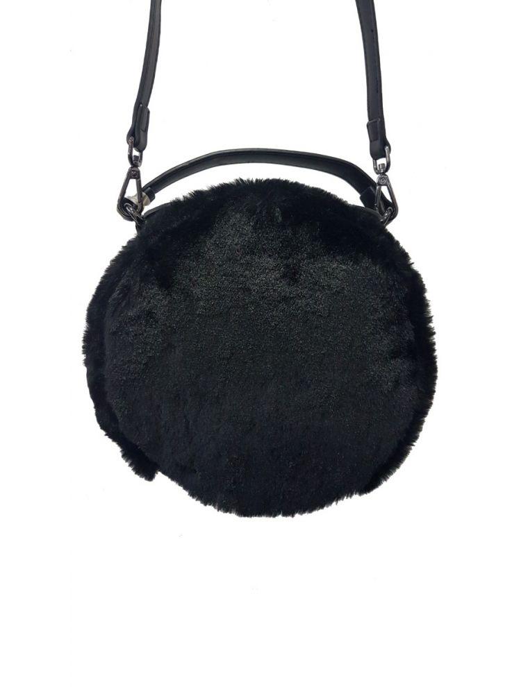Στρογγυλή Γούνινη Τσάντα-Μαύρο