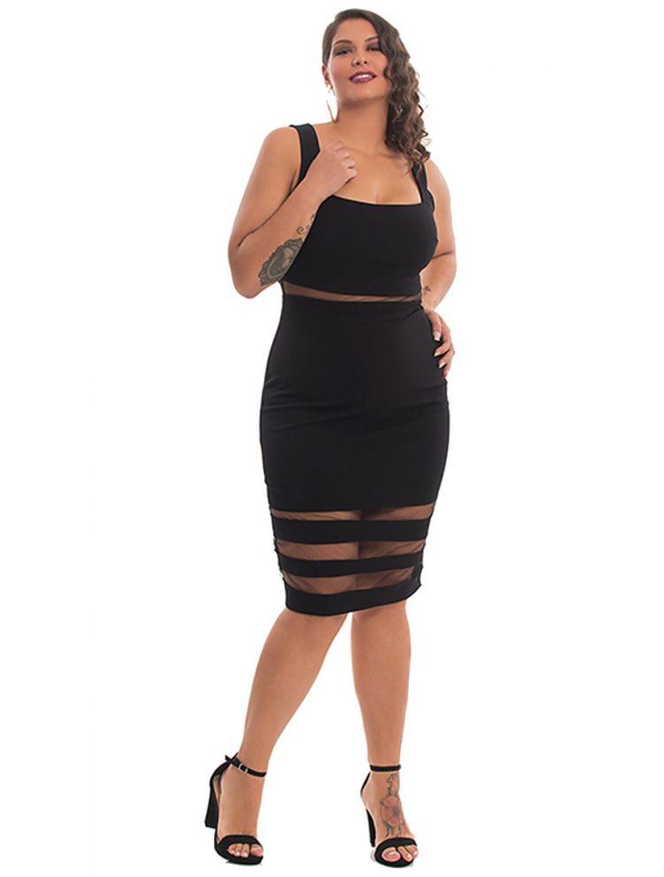 Midi Φόρεμα με Διαφάνειες