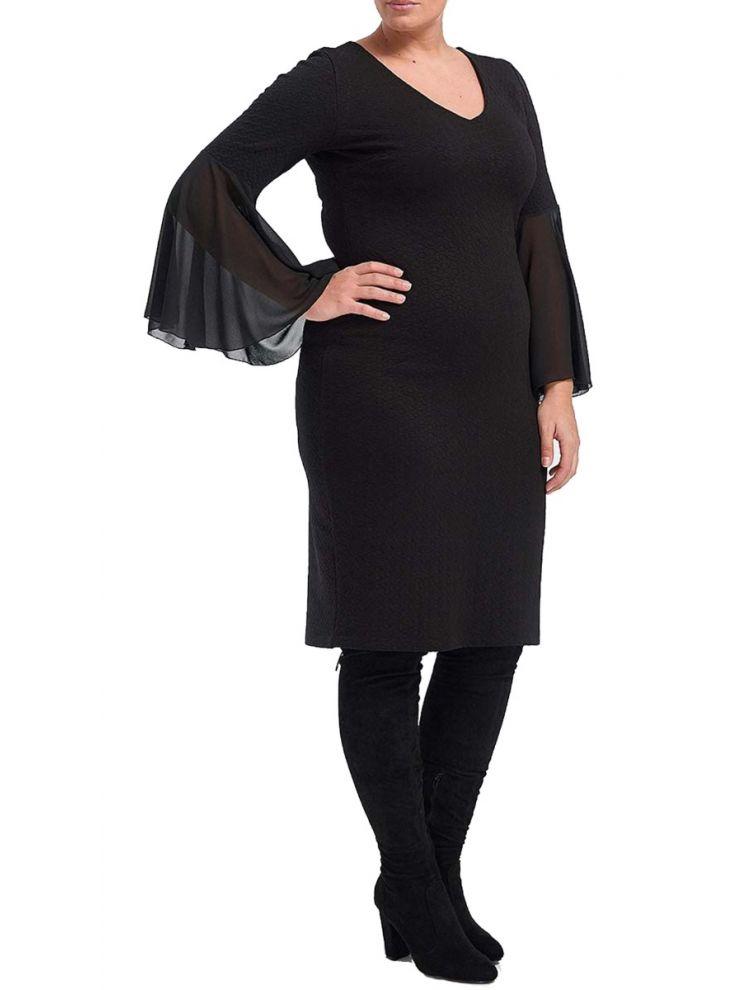 Midi Φόρεμα με Βολάν στα μανίκια
