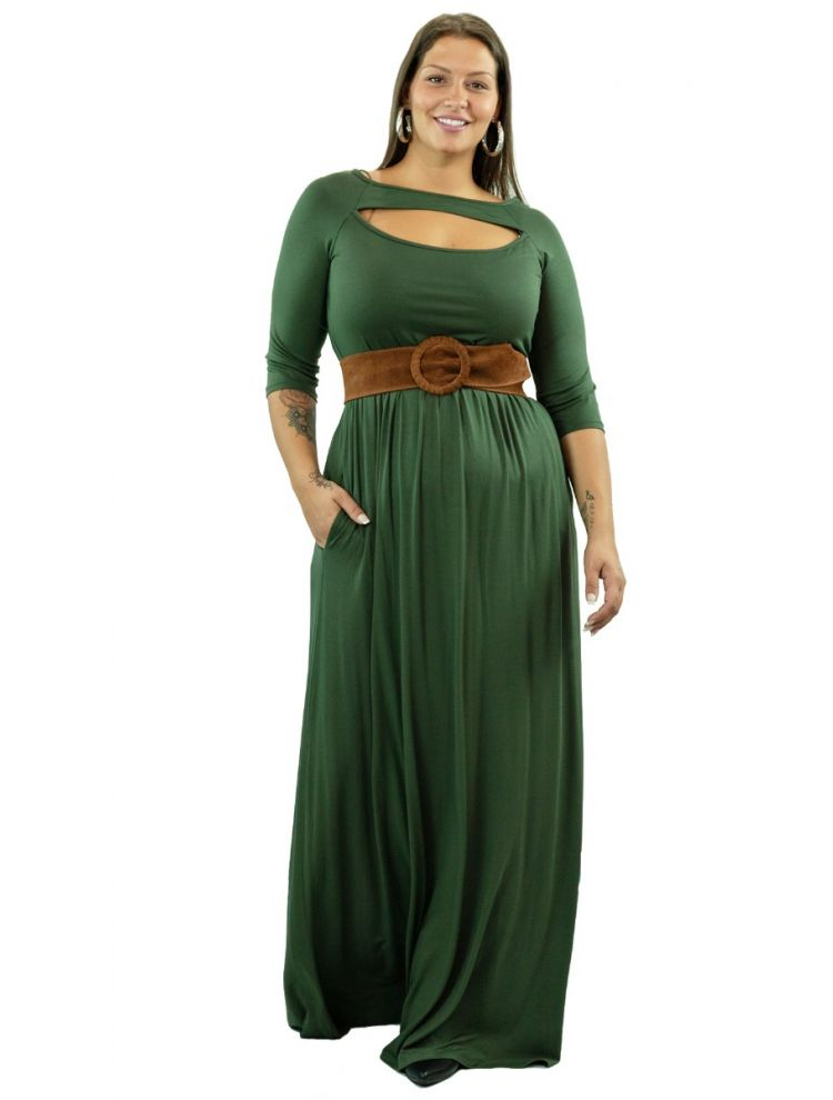 Plus Size Μάξι φόρεμα με cut-out στήθος -Χακί-OneSize upto 3XL