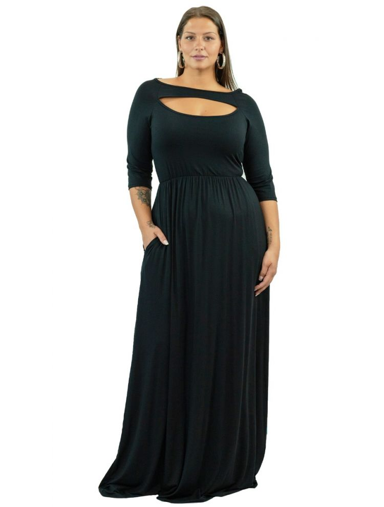 Plus Size Μάξι φόρεμα με cut-out στήθος -Μαύρο-OneSize upto 3XL