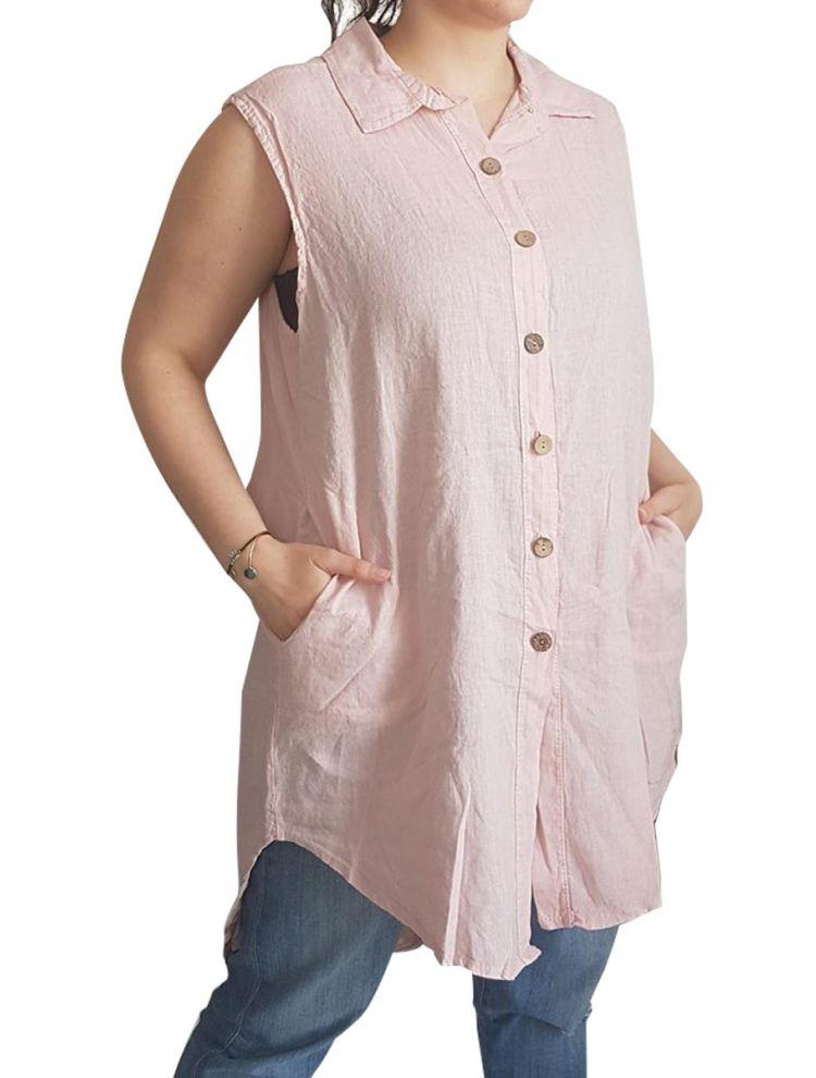 Αμάνικο μακρύ λινό πουκάμισο