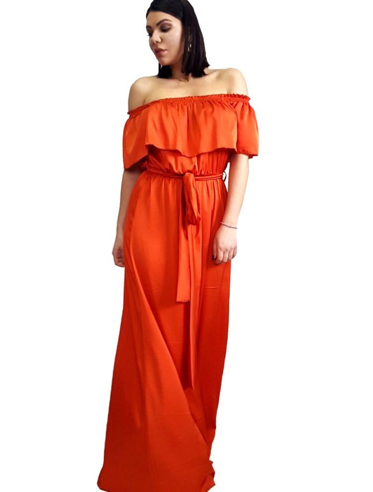 Strapless Φόρεμα με βολάν στο μπούστο