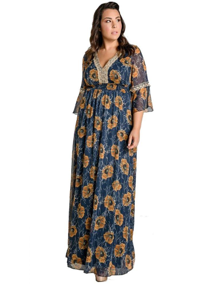 Φλοράλ Φόρεμα με 3/4 Μανίκι