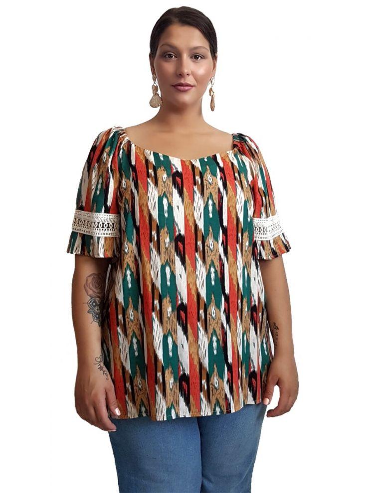 Πολύχρωμη μπλούζα με σχέδιο δαντέλα