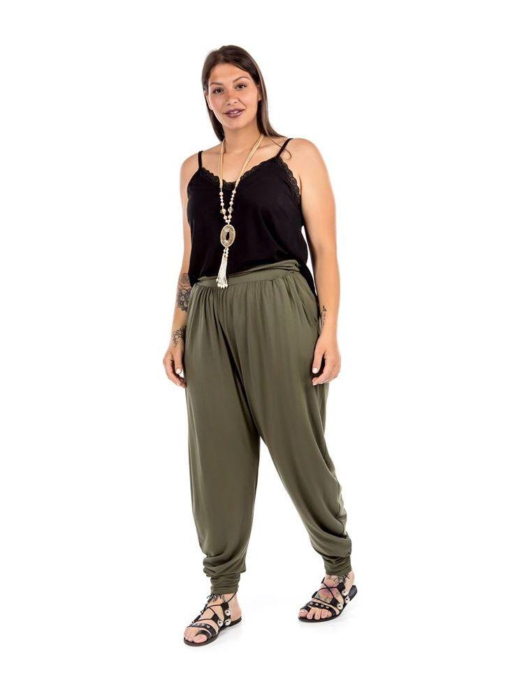 Μονόχρωμο παντελόνι με λάστιχο-Χακί-S/M