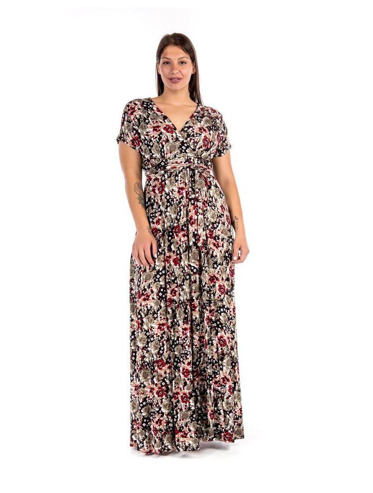 Κοντομάνικο Maxi φλοράλ φόρεμα
