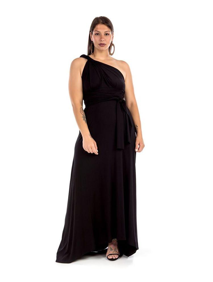 Maxi μονόχρωμο φόρεμα πολυμορφικό