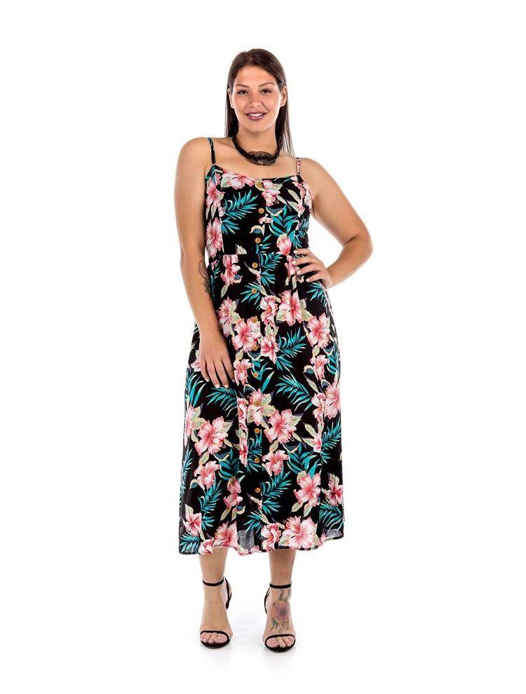 Midi φλοράλ φόρεμα με κουμπιά
