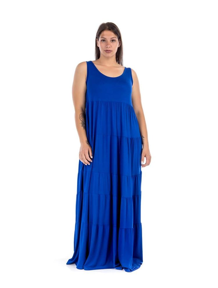 Maxi μονόχρωμο φόρεμα Roza