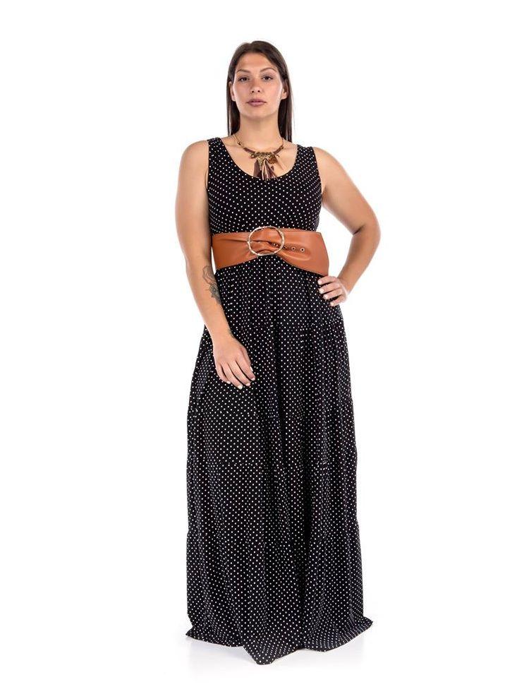 Maxi πουά φόρεμα Roza
