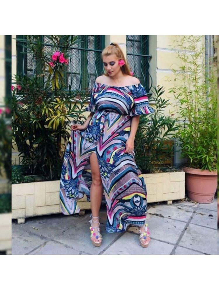 Εμπριμέ Bardot Φόρεμα με ζώνη και cut out-LADINA