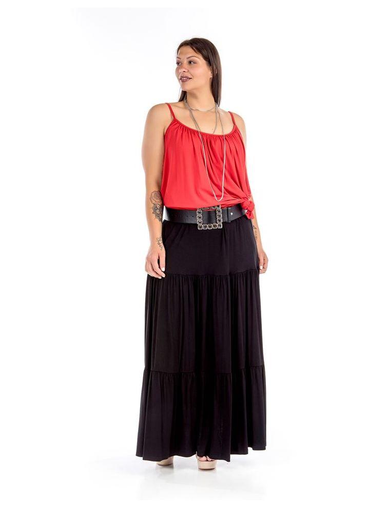 Maxi μονόχρωμη φούστα