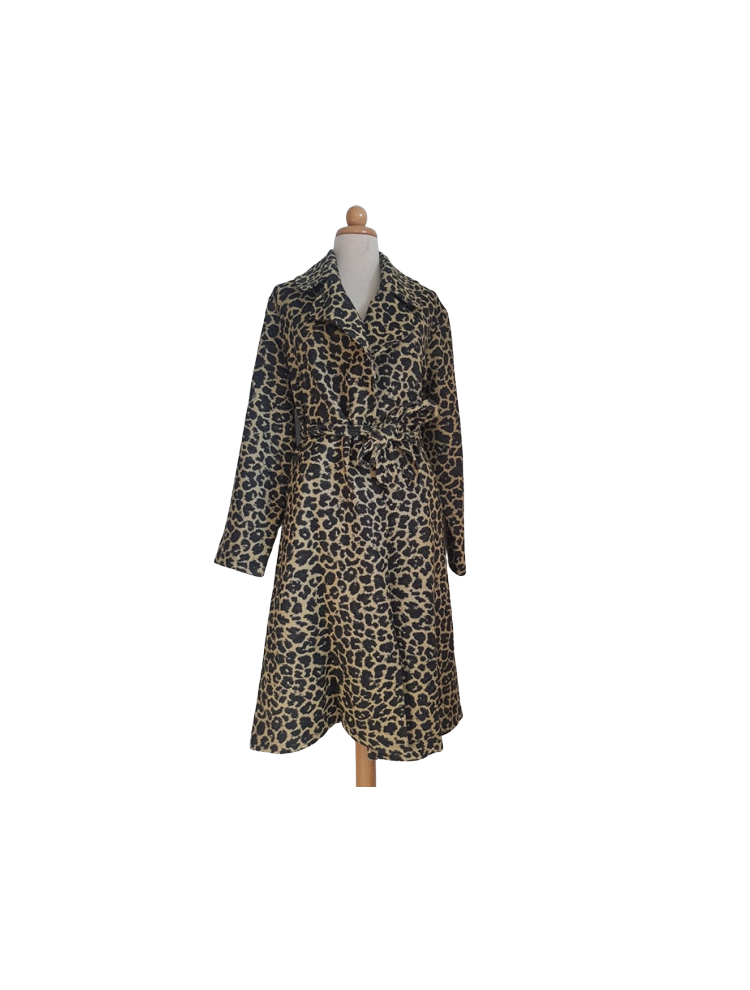 Plus Size Ζακάρ Παλτό με ζώνη & τσέπες ΛΕΟΠΑΡ-Λεοπάρ-OneSize upto 3XL