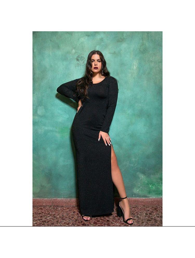 Μαύρο Λούρεξ Μάξι Φόρεμα με σκίσιμο στο πλάι  NANIK