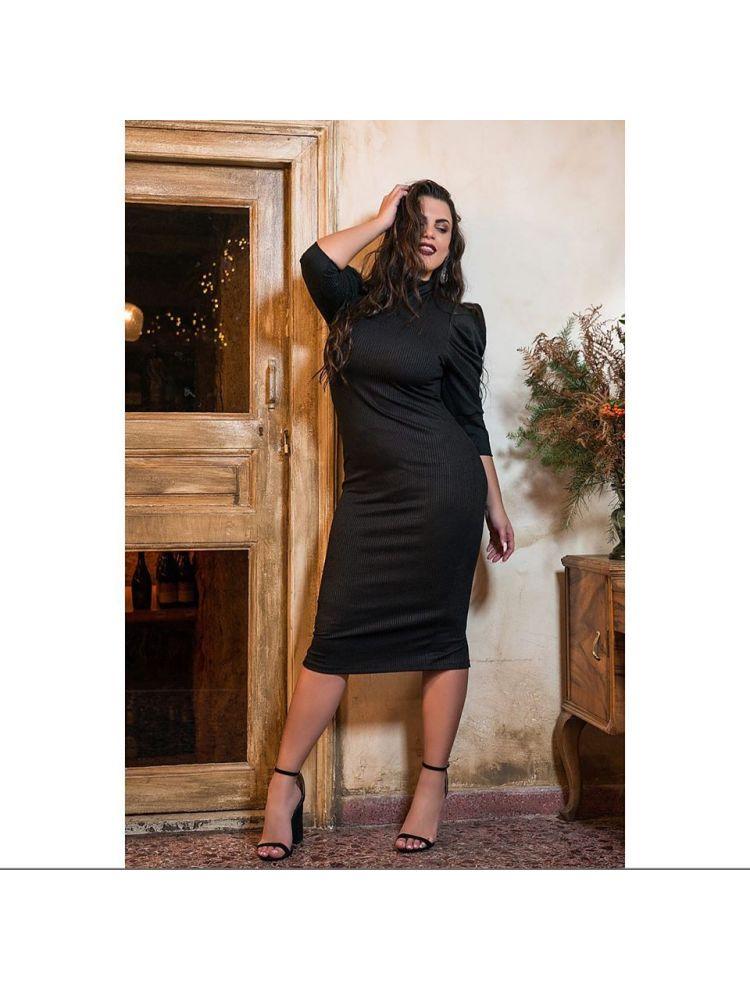 Μαύρο Φόρεμα Ζιβάγκο με Ballon μανίκια  BILMA