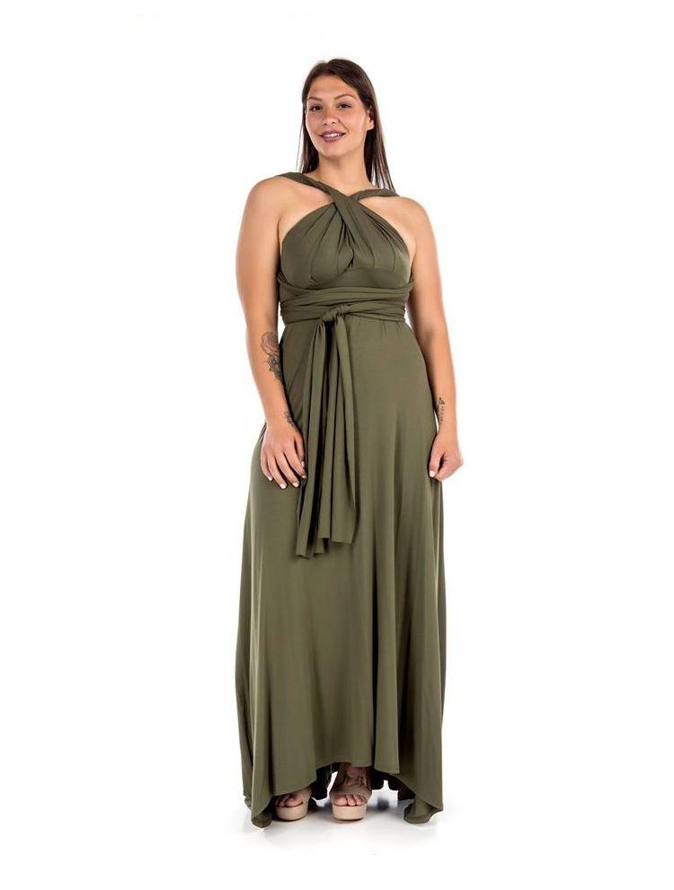Maxi μονόχρωμο φόρεμα με προσαρμοσμένους ώμους-Χακί-L/XL