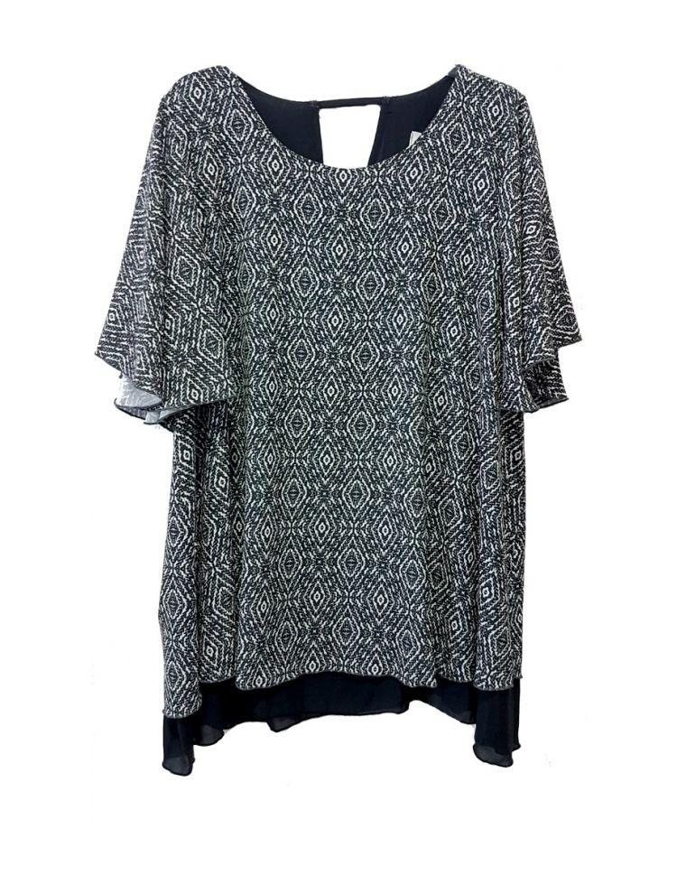 Layered Κοντομάνικη Μπλούζα -Σπασμένο λευκό-S/M