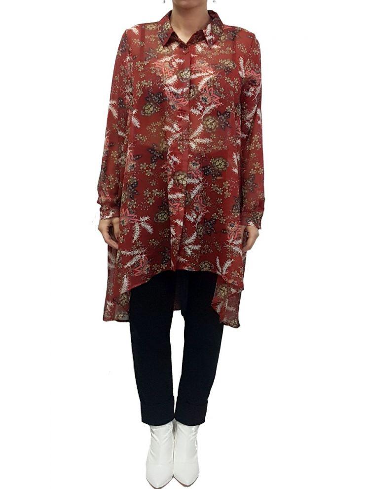 Φλοράλ πουκαμίσα τουνίκ-Κόκκινο-L/XL