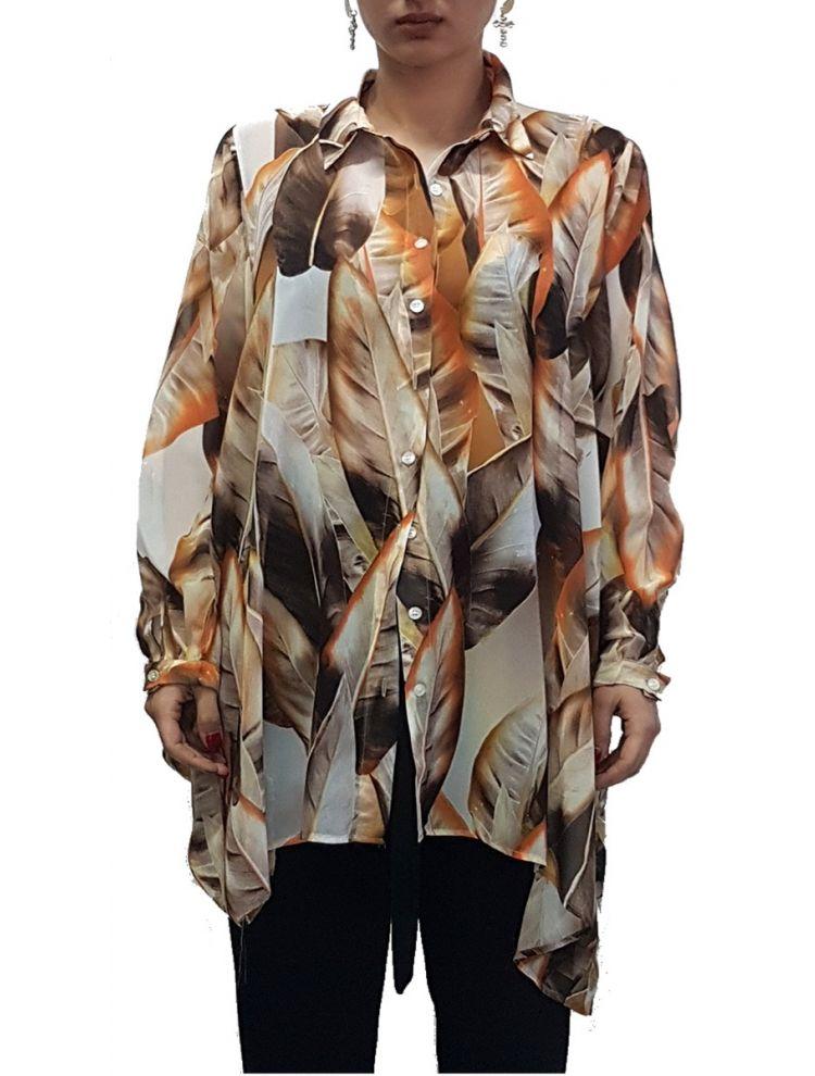 Φλοράλ πουκαμίσα τουνίκ με φυλλαράκια-Χρυσό σκούρο-S/M