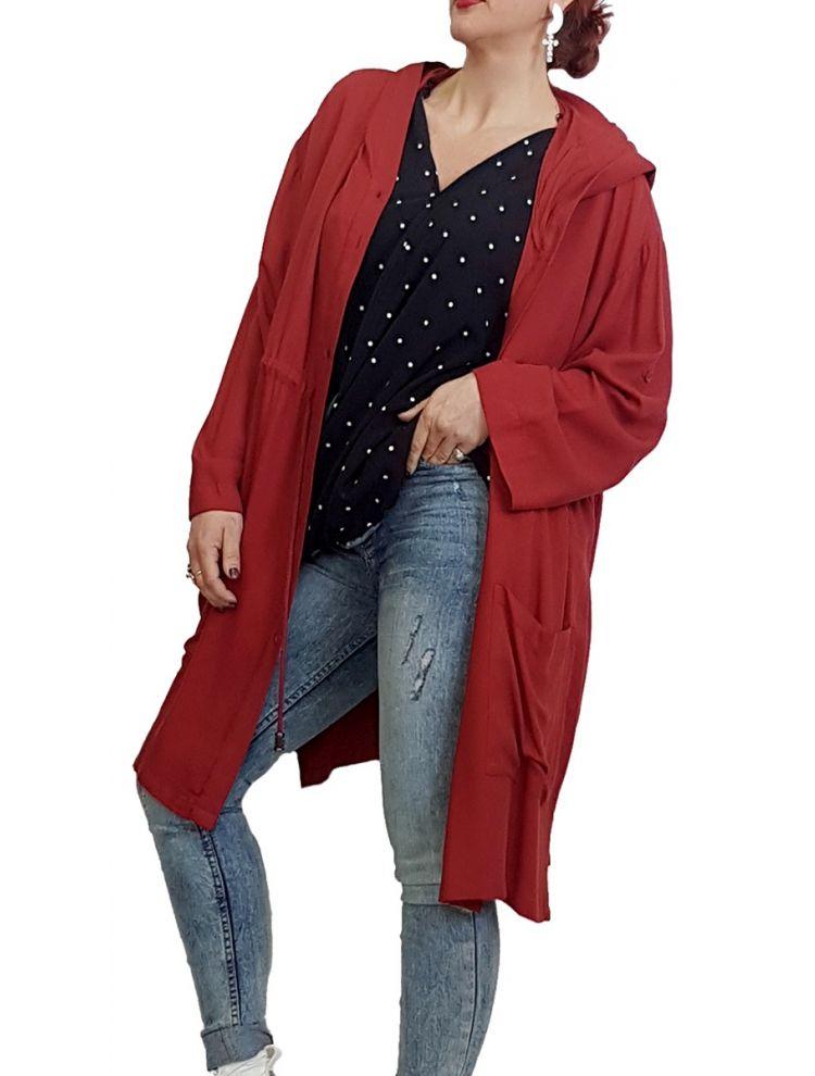 Άνετο Jacket με κουκούλα-Κόκκινο-M/L