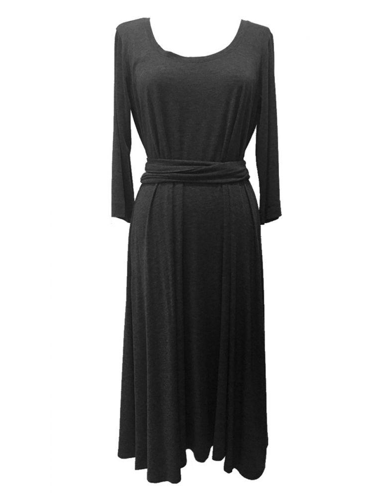 Midi Ανάλαφρο Φόρεμα με τρία τέταρτα μανικι-S/M-Ανθρακί