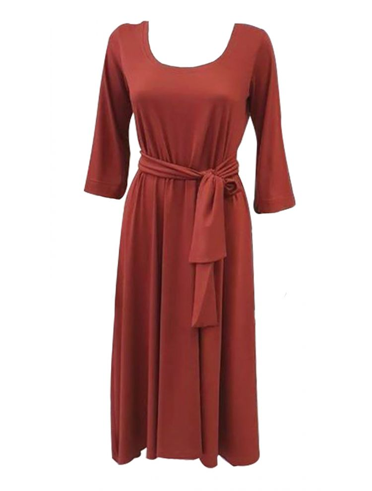 Midi Ανάλαφρο Φόρεμα με τρία τέταρτα μανικι-M/L-Εκάι