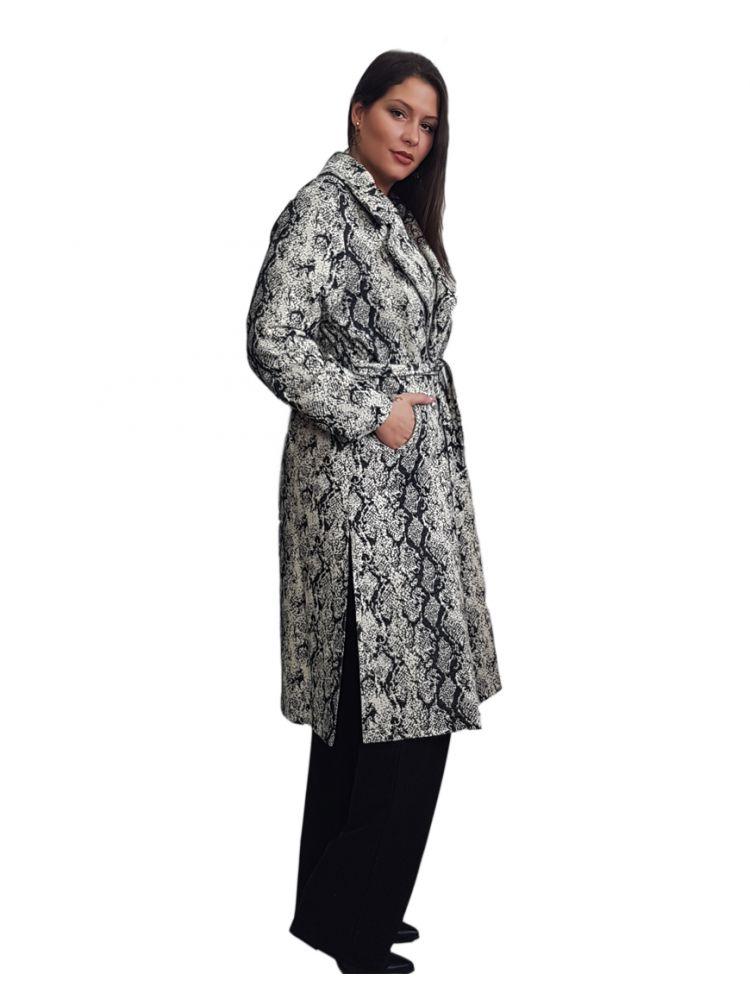 Lux Plus Size  Ζακάρ Παλτό Croco με τσέπες και ζώνη