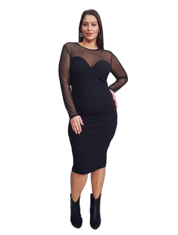 Bodycon Plus Size Φόρεμα με διαφάνειες και μπούστο καρδιά CARLA