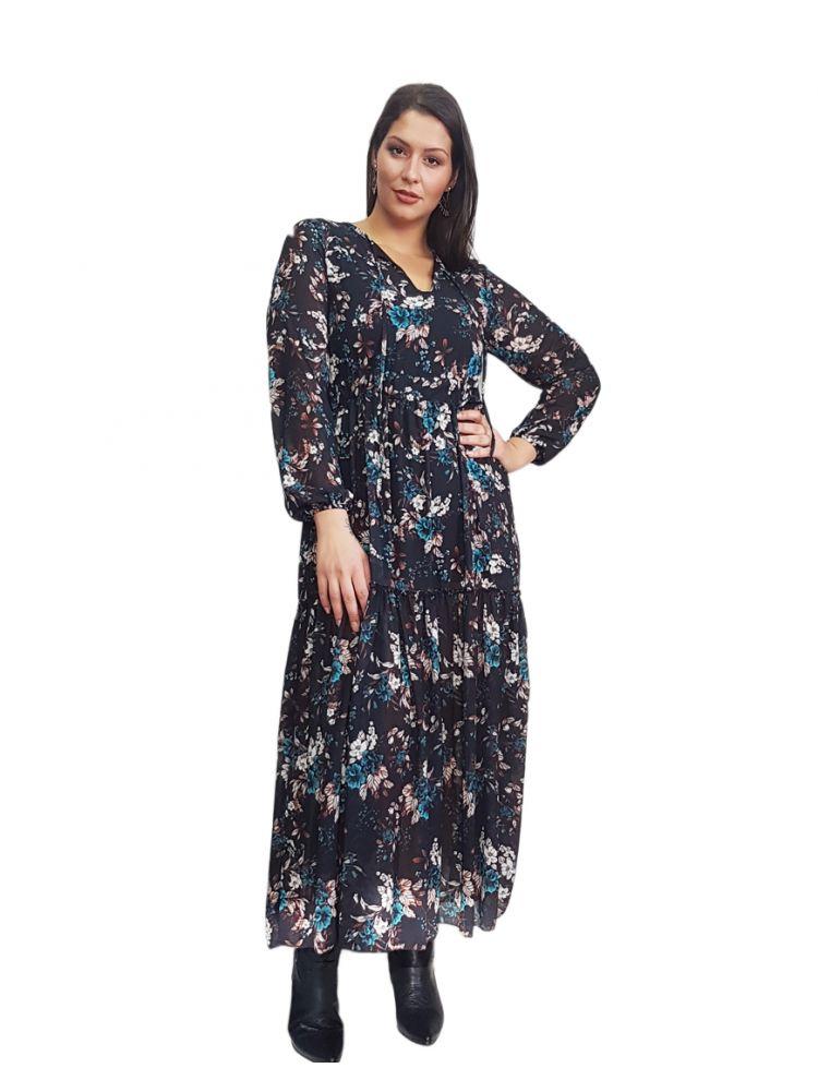 Maxi Φλοράλ Φόρεμα με λάστιχο στη  μέση - JANEN