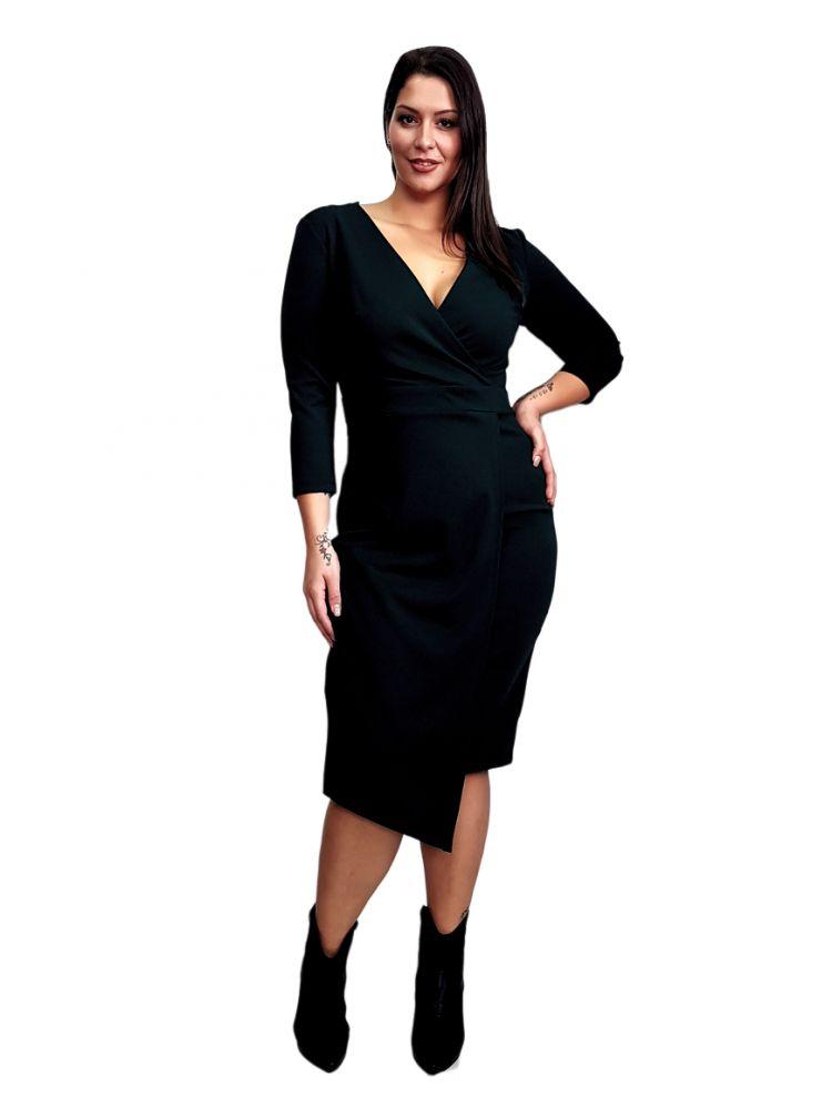 Μίντι μαύρο φόρεμα με wrap τελείωμα στο κάτω μέρος