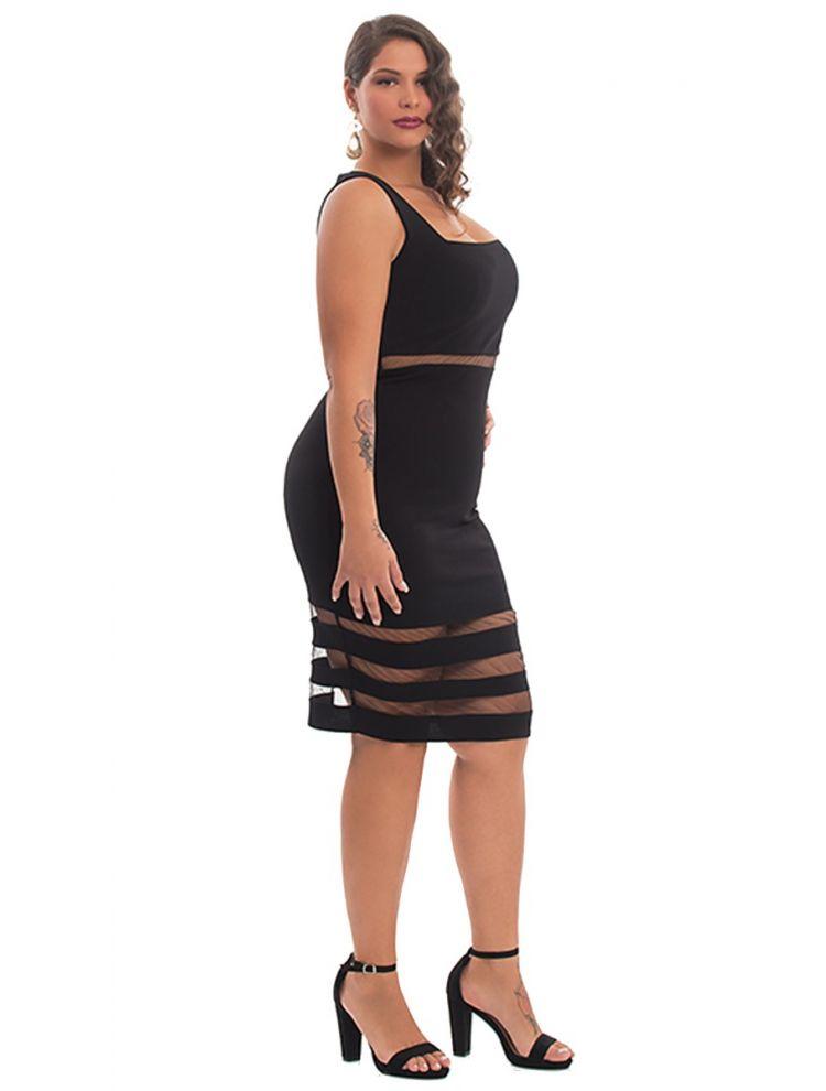 Midi Φόρεμα με Διαφάνειες-Μαύρο-S/M