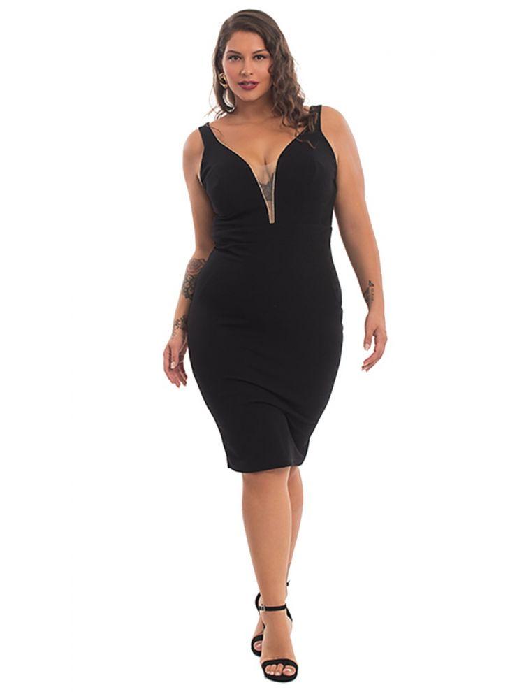 Midi Φόρεμα με Διαφάνεια Στο Ντεκολτέ-Μαύρο-S/M