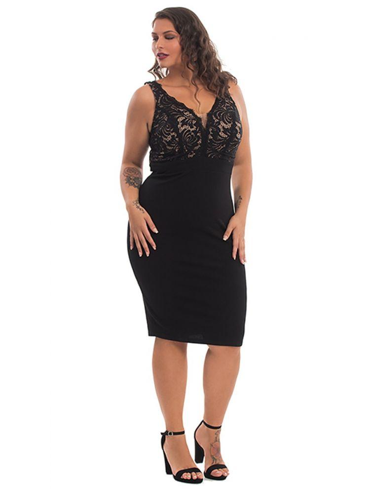 Midi Μαύρο Φόρεμα με Δαντέλα και Ανοιχτή πλάτη-Μαύρο-S/M