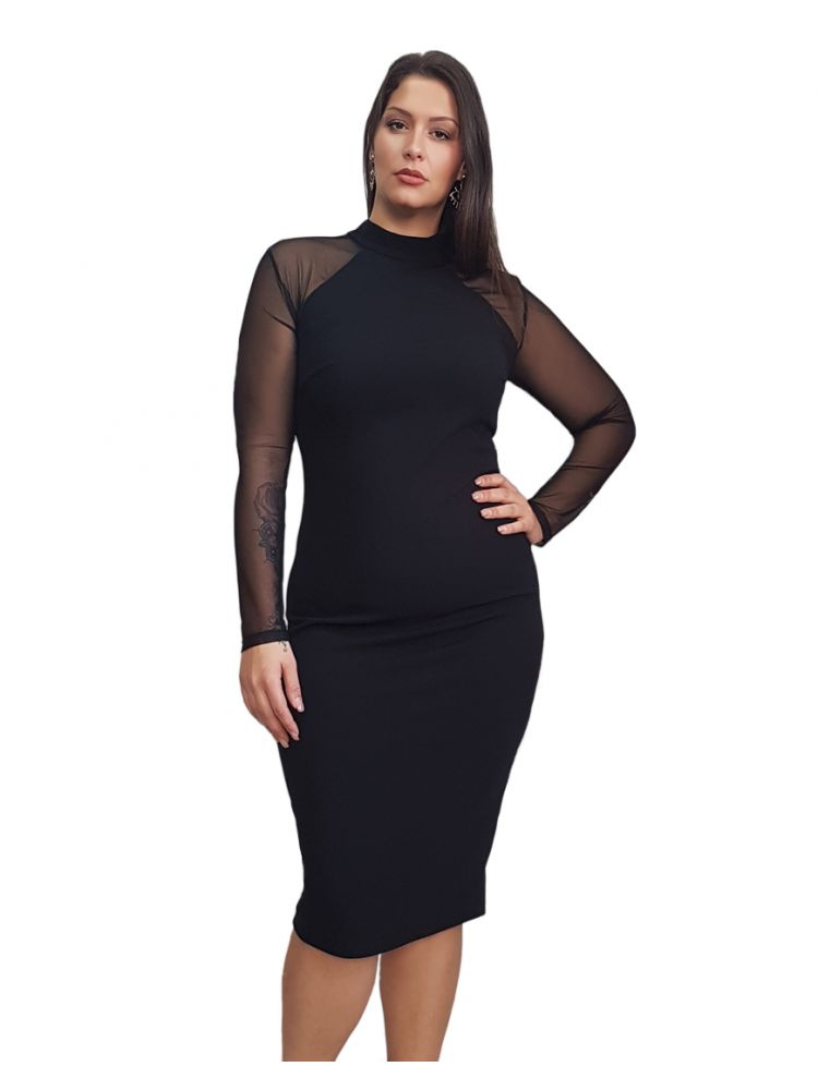 Bodycon Plus Size Φόρεμα με διαφάνειες στα μανίκια ANTRIANA