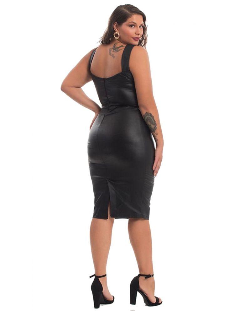 Bodycon ecoLeather Φόρεμα με slash στο μπούστο