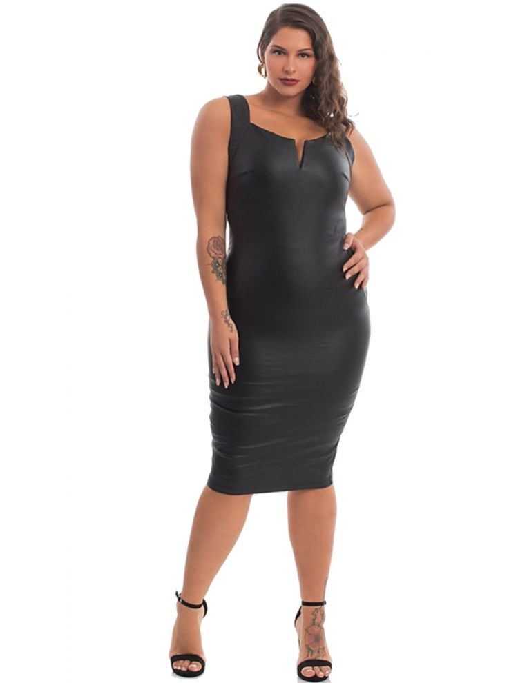Bodycon ecoLeather Φόρεμα με slash στο μπούστο-Μαύρο-S/M
