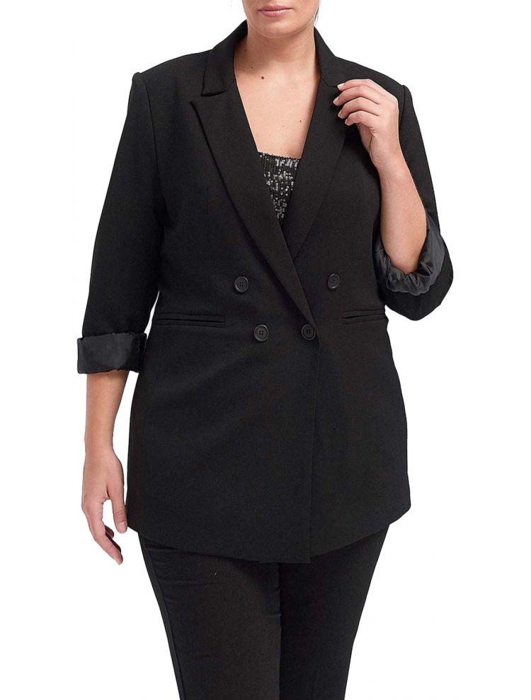 Lux Office Σακάκι με σταυρωτά κουμπιά-Μαύρο-S/M