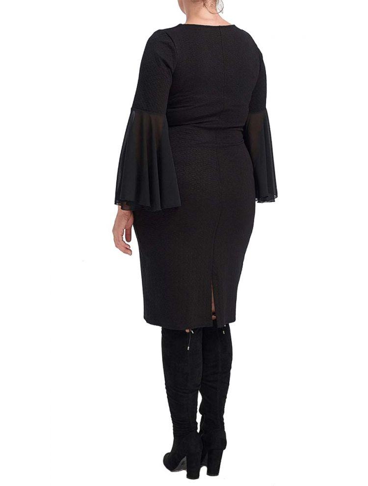 Midi Φόρεμα με Βολάν στα μανίκια-Μαύρο-S/M