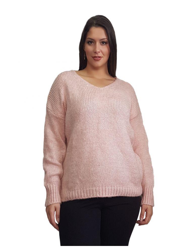 Πλεκτή μονόχρωμη μπλούζα με V LINA  Ροζ