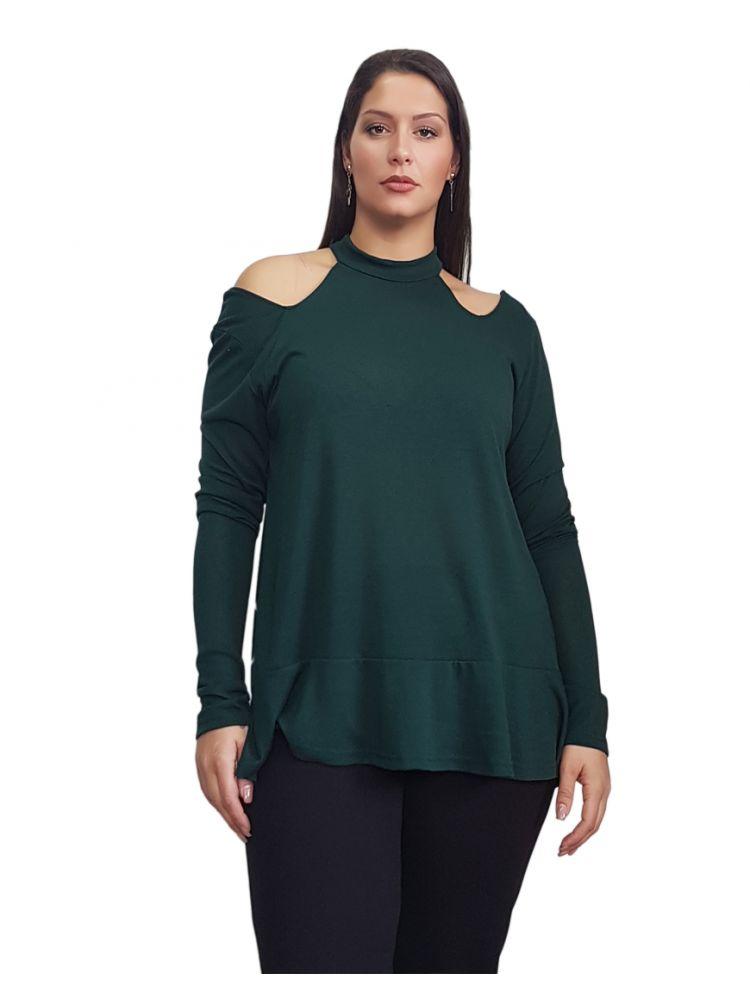Κυπαρισσί  πλεκτή μπλούζα με cut στους ώμους.