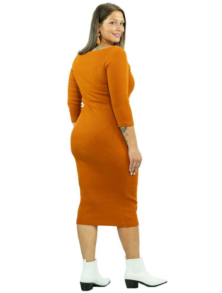 Bodycon Ριπ φόρεμα με bardot ώμους -Μουσταρδί/Ώχρα-OneSize(up to 2XL)